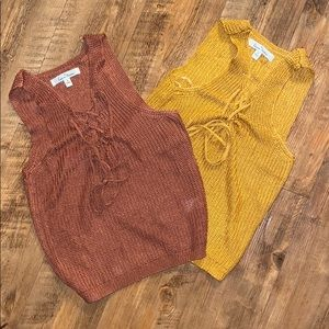 Perfect pumpkin spice knitted crop top tank tops